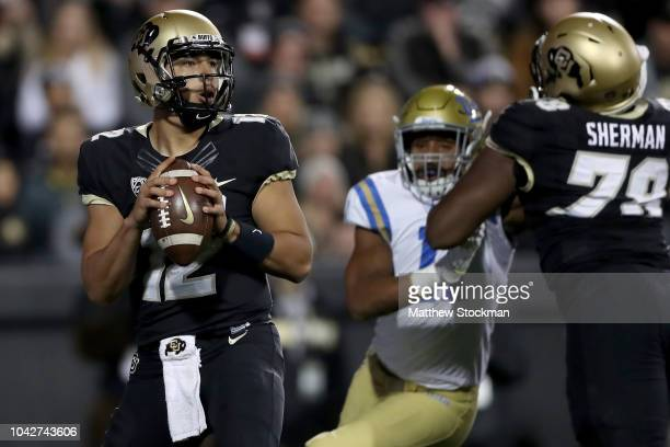 Quarterback Steven Montez of the Colorado Buffaloes throws against the UCLA Bruins at Folsom Field on September 28 2018 in Boulder Colorado