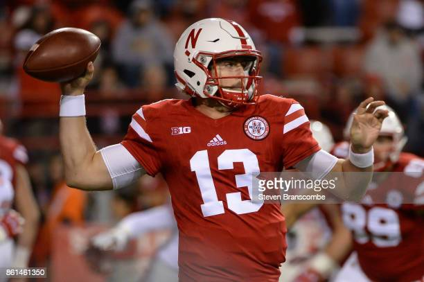 Quarterback Tanner Lee of the Nebraska Cornhuskers passes against the Ohio State Buckeyes at Memorial Stadium on October 14 2017 in Lincoln Nebraska