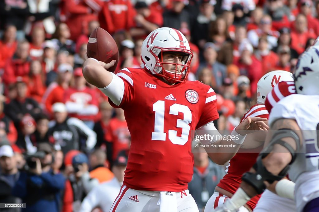 Quarterback Tanner Lee #13 of the Nebraska Cornhuskers passes against the Northwestern Wildcats at Memorial Stadium on November 4, 2017 in Lincoln, Nebraska.