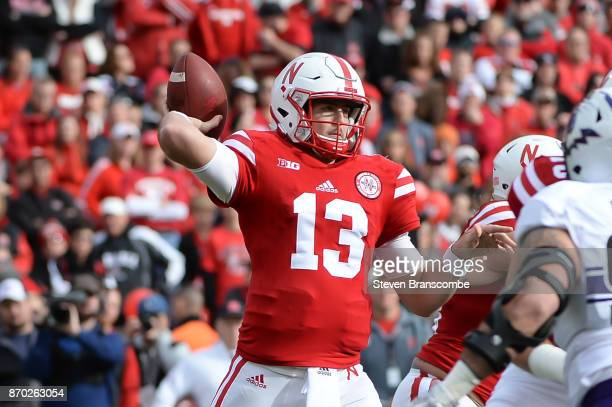 Quarterback Tanner Lee of the Nebraska Cornhuskers passes against the Northwestern Wildcats at Memorial Stadium on November 4 2017 in Lincoln Nebraska