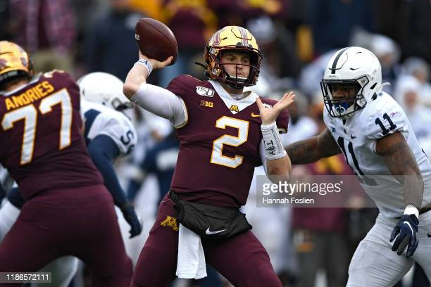 Quarterback Tanner Morgan of the Minnesota Golden Gophers looks to pass against the Penn State Nittany Lions during the third quarter at TCFBank...