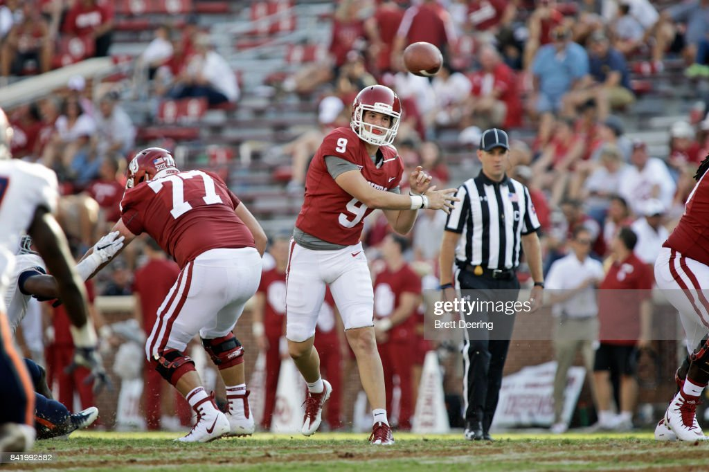 Quarterback Tanner Schafer #9 of the Oklahoma Sooners throws against the UTEP Miners at Gaylord Family Oklahoma Memorial Stadium on September 2, 2017 in Norman, Oklahoma. Oklahoma defeated UTEP