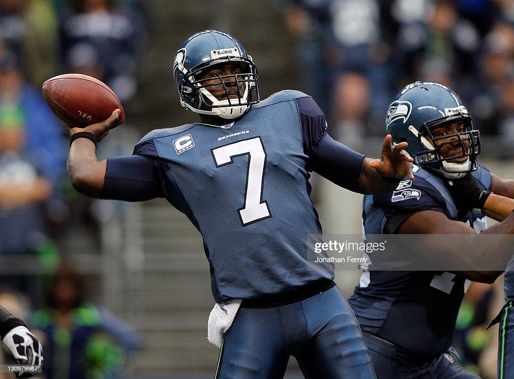 Quarterback Tavaris Jackson #7 of the Seattle Seahawks throws a pass against the Cincinnati Bengals on October 30, 2011 at CenturyLink Field in Seattle, Washington.