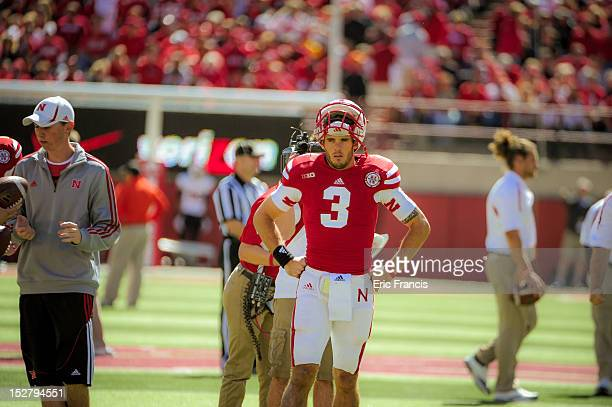 Quarterback Taylor Martinez of the Nebraska Cornhuskers before their game against the Idaho State Bengals during their game at Memorial Stadium on...