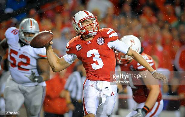 Quarterback Taylor Martinez of the Nebraska Cornhuskers launches the ball down field against the Ohio State Buckeyes during their game at Memorial...