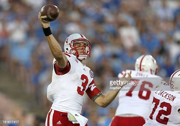 Quarterback Taylor Martinez of the Nebraska Cornhuskers throws a pass against the UCLA Bruins at the Rose Bowl on September 8 2012 in Pasadena...