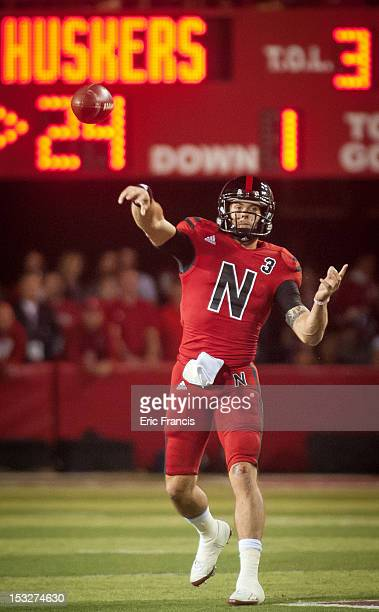 Quarterback Taylor Martinez of the Nebraska Cornhuskers throws the ball over the Wisconsin Badgers during their game at Memorial Stadium on September...