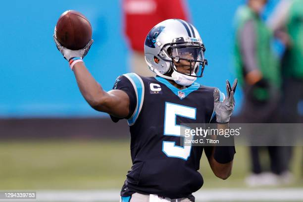 Quarterback Teddy Bridgewater of the Carolina Panthers looks to pass during the first quarter of their game against the New Orleans Saints at Bank of...