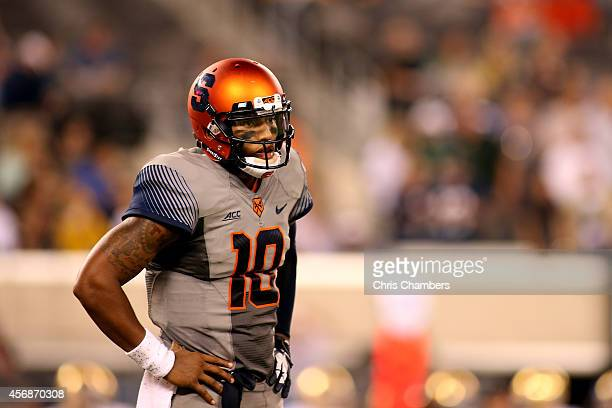 Quarterback Terrel Hunt of the Syracuse Orange looks to the sideline against the Notre Dame Fighting Irish at MetLife Stadium on September 27 2014 in...