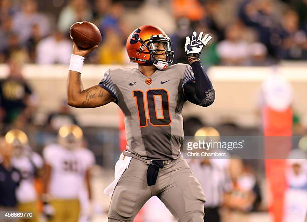 Quarterback Terrel Hunt of the Syracuse Orange throws a pass against the Notre Dame Fighting Irish at MetLife Stadium on September 27 2014 in East...