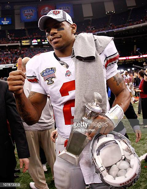 Quarterback Terrelle Pryor of the Ohio State Buckeyes celebrates the Buckeyes 3126 victory against the Arkansas Razorbacks during the Allstate Sugar...
