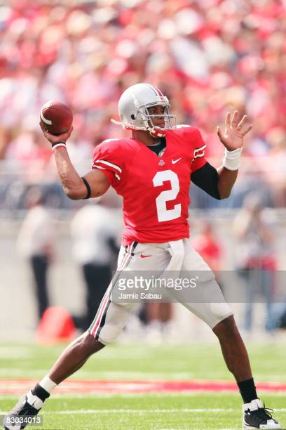 Quarterback Terrelle Pryor of the Ohio State Buckeyes throws a pass against the Minnesota Golden Gophers on September 27 2008 at Ohio Stadium in...