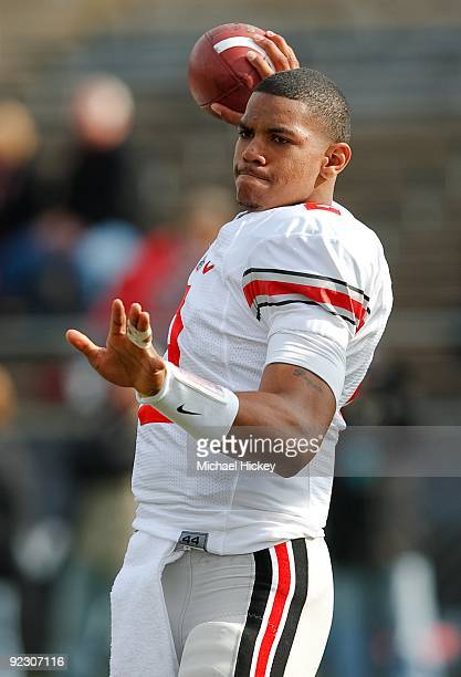 Quarterback Terrelle Pryor of the Ohio State Buckeyes warmups before the game against the Purdue Boilermakers at RossAde Stadium on October 17 2009...