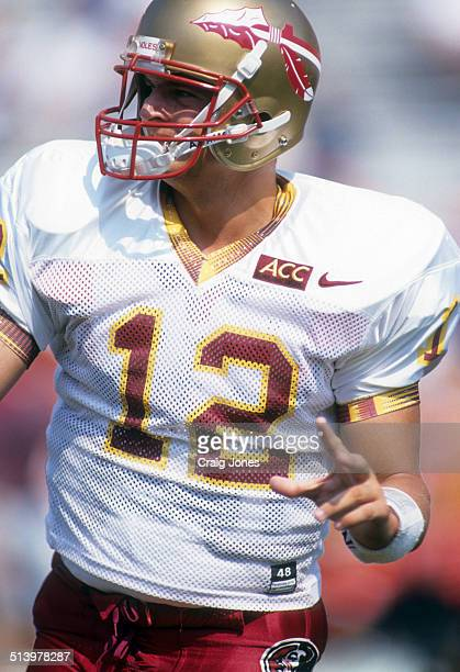 Quarterback Thad Busby of the Florida State Seminoles warms up before an NCAA game against the Clemson Tigers on September 9, 1995 at Memorial...