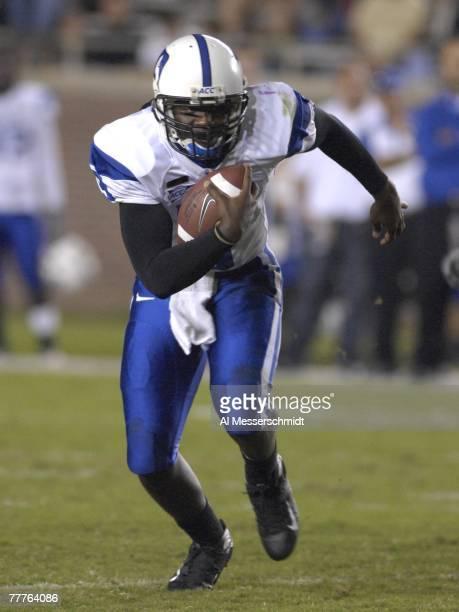 Quarterback Thaddeus Lewis of the Duke Blue Devils rushes against the Florida State Seminoles at Doak Campbell Stadium on October 27 2007 in...