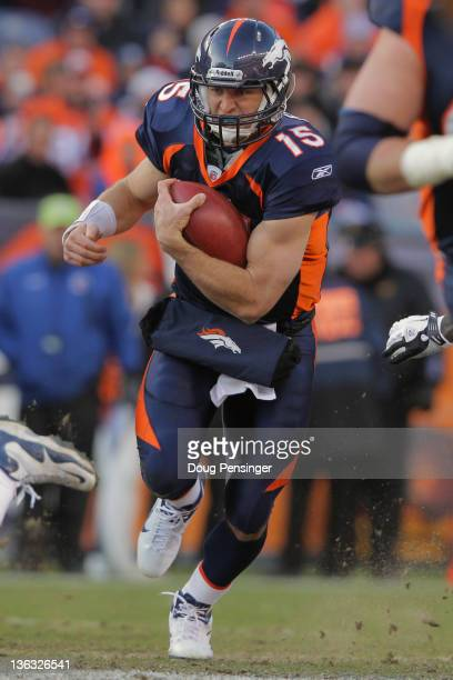 Quarterback Tim Tebow of the Denver Broncos rushes witht the ball against the Kansas City Chiefs at Sports Authority Field at Mile High on January 1...