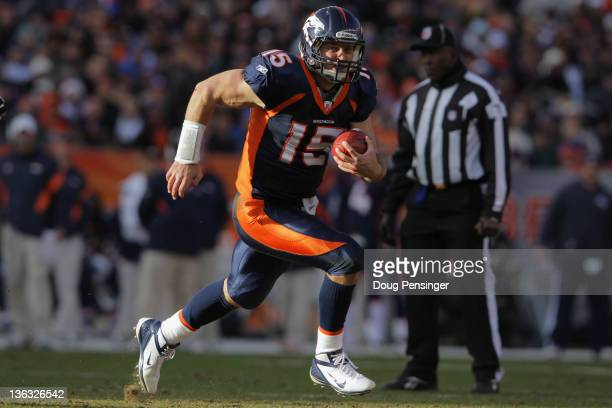 Quarterback Tim Tebow of the Denver Broncos rushes witht the ball against the Kansas City Chiefs at Sports Authority Field at Mile High on January 1,...