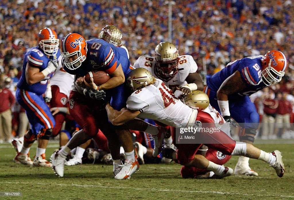 Quarterback Tim Tebow #15 of the Florida Gators looks for some yardage during the game of the Florida State Seminoles on November 24, 2007 at Ben Hill Griffin Stadium at Florida Field in Gainesville, Florida.