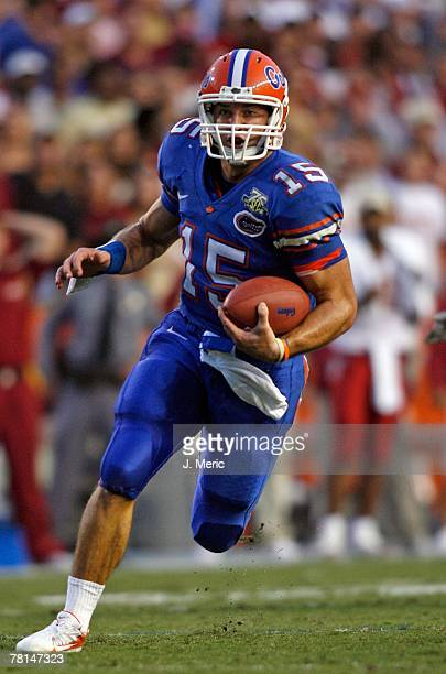 Quarterback Tim Tebow of the Florida Gators looks for some yardage during the game of the Florida State Seminoles on November 24 2007 at Ben Hill...