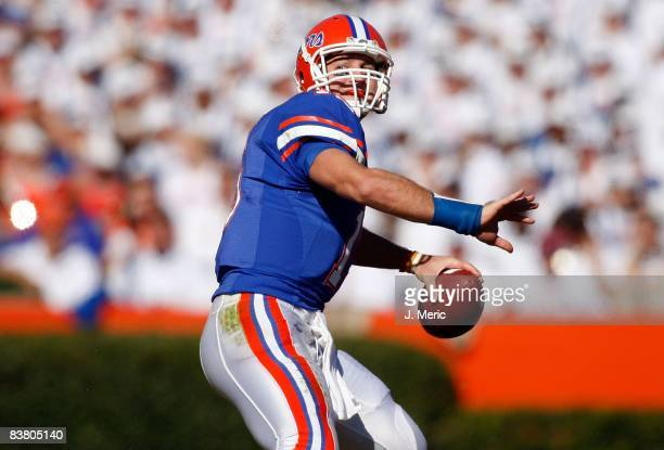 Quarterback Tim Tebow of the Florida Gators throws a pass against the Citadel Bulldogs during the game at Ben Hill Griffin Stadium at Florida Field...
