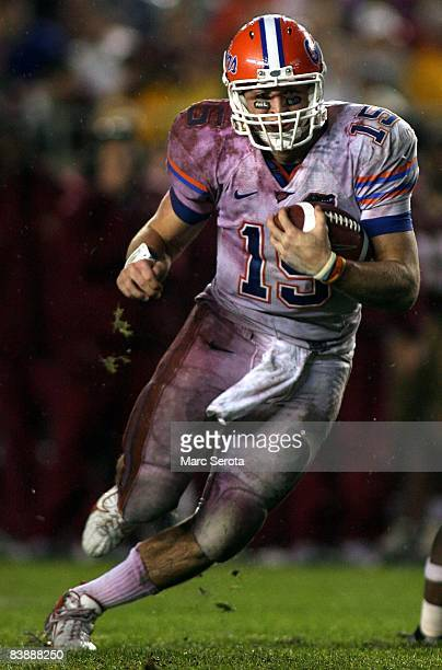 Quarterback Tim Tebow passes against the Florida State Seminoles at Bobby Bowden Field at Doak Campbell Stadium on November 29, 2008 in Tallahassee,...