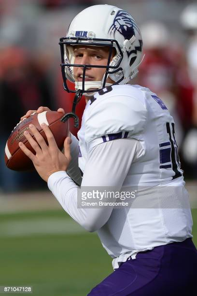 Quarterback TJ Green of the Northwestern Wildcats warms up before the game against the Nebraska Cornhuskers at Memorial Stadium on November 4 2017 in...