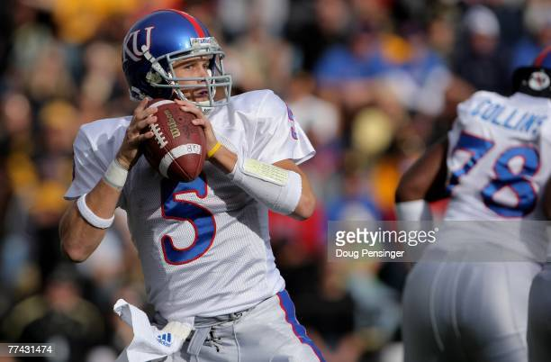 Quarterback Todd Reesing of the Kansas Jayhawks delivers a pass against the Colorado Buffaloes at Folsom Field October 20 2007 in Boulder Colorado...