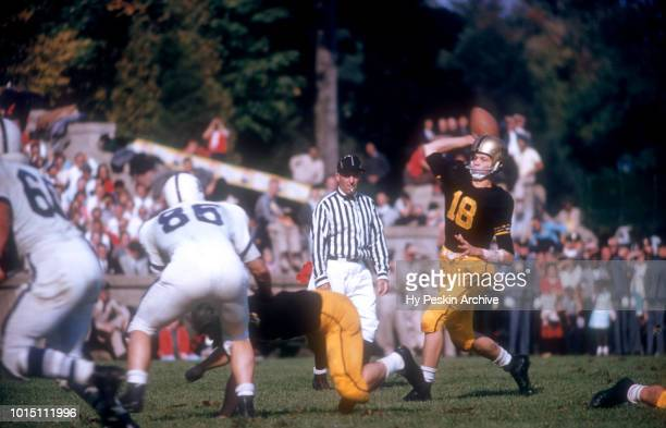 Quarterback Tom Blanda of the Army Cadets throws the pass during an NCAA game against the Penn State Nittany Lions on October 4 1958 at Michie...