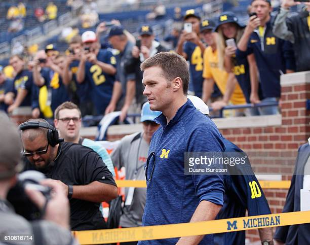 Quarterback Tom Brady of the New England Patriots arrives at Michigan Stadium prior the a game against the Colorado Buffaloes on September 17 2016 in...