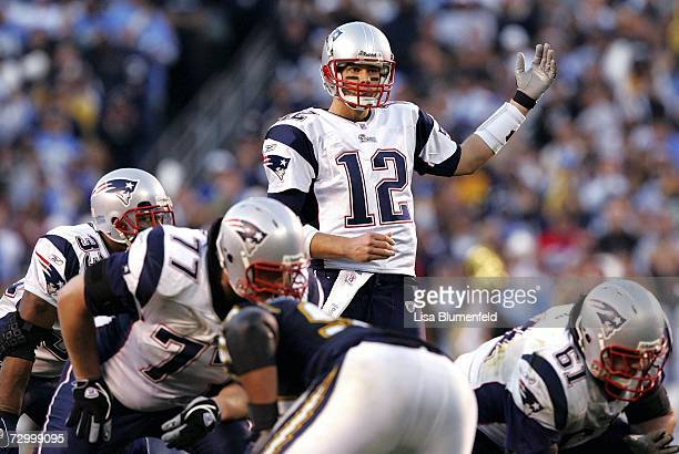 Quarterback Tom Brady of the New England Patriots calls a play during the AFC divisional playoff game against the San Diego Chargers held on January...