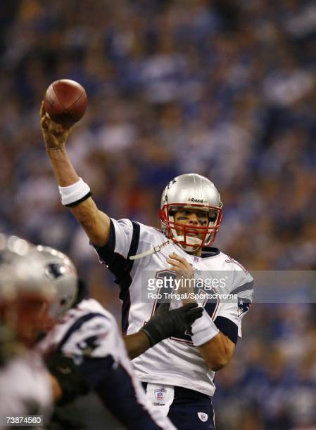 Quarterback Tom Brady of the New England Patriots drops back to pass against the Indianapolis Colts during the AFC Championship game on January 21...