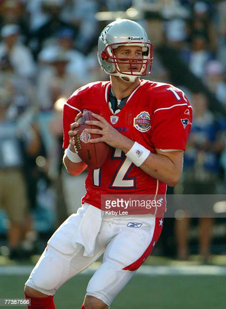 AFC quarterback Tom Brady of the New England Patriots drops back to pass during 3827 victory over the NFC at Aloha Stadium in Honolulu Hawaii on...