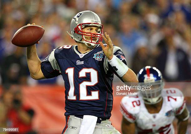 Quarterback Tom Brady of the New England Patriots drops back to pass against the New York Giants the second half of Super Bowl XLII on February 3...