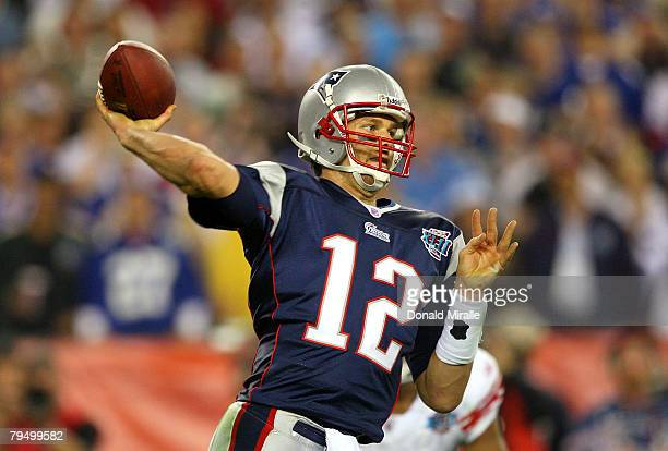 Quarterback Tom Brady of the New England Patriots drops back to pass against the New York Giants the second half of Super Bowl XLII on February 3,...