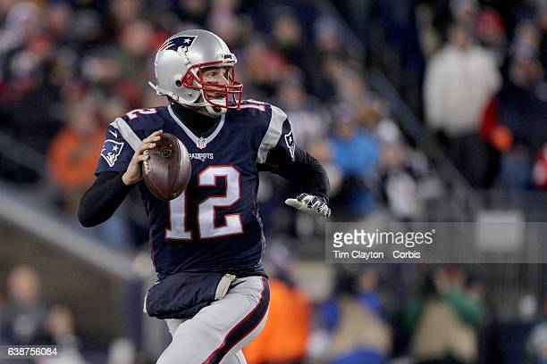 Quarterback Tom Brady of the New England Patriots during the Houston Texans Vs New England Patriots Divisional round game during the NFL playoffs on...