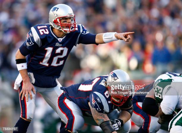 Quarterback Tom Brady of the New England Patriots gestures against the New York Jets in the AFC Wild Card Playoff Game at Gillette Stadium on January...