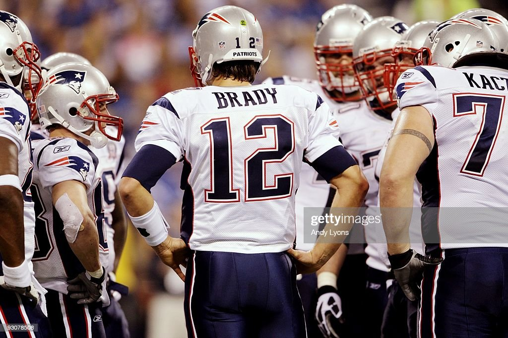 Quarterback Tom Brady #12 of the New England Patriots huddles up his team during the third quarter of the game against the Indianapolis Colts at Lucas Oil Stadium on November 15, 2009 in Indianapolis, Indiana.