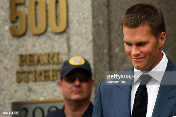 Quarterback Tom Brady of the New England Patriots leaves federal court after contesting his four game suspension with the NFL on August 31 2015 in...