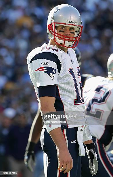 Quarterback Tom Brady of the New England Patriots lines up during the AFC Divisional Playoff Game against the San Diego Chargers held on January 14...