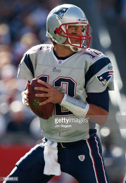 Quarterback Tom Brady of the New England Patriots looks for an open man during a game against the Buffalo Bills at Gillette Stadium September 23 2007...