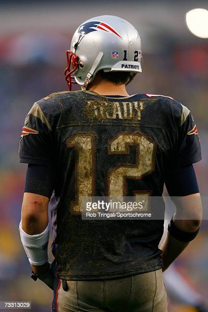 Quarterback Tom Brady of the New England Patriots looks on against the New York Jets at Gillette Stadium on November 12 2006 in Foxboro Massachusetts...