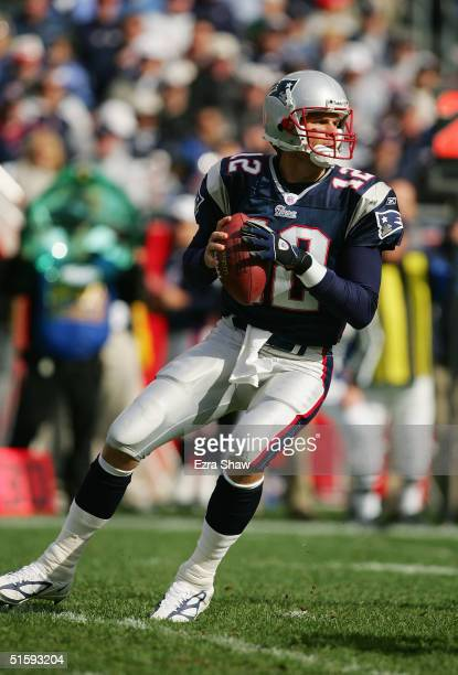 Quarterback Tom Brady of the New England Patriots looks to pass during the game with the Seattle Seahawks at Gillette Stadium on October 17, 2004 in...