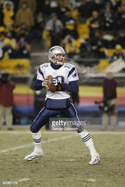 Quarterback Tom Brady of the New England Patriots looks to pass against the Pittsburgh Steelers during the AFC Championship game at Heinz Field on...