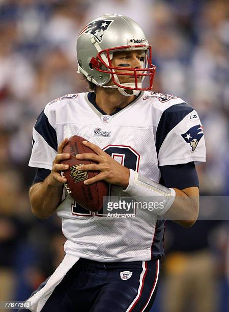 Quarterback Tom Brady of the New England Patriots looks to pass against the Indianapolis Colts on November 4 2007 at the RCA Dome in Indianapolis...