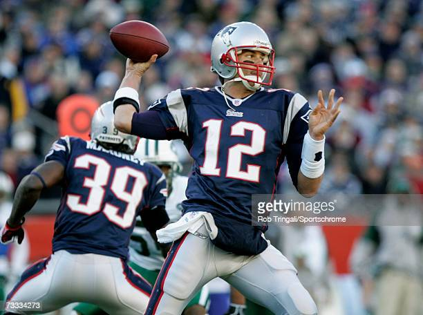 Quarterback Tom Brady of the New England Patriots passes against the New York Jets in the AFC Wild Card Playoff Game at Gillette Stadium on January 7...