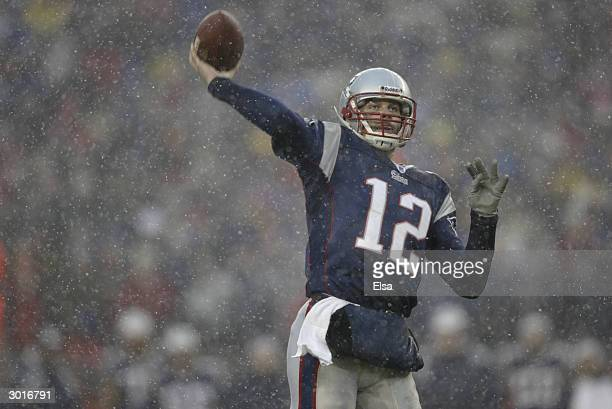 Quarterback Tom Brady of the New England Patriots passes during the AFC Championship Game against the Indianapolis Colts on January 18 2004 at...