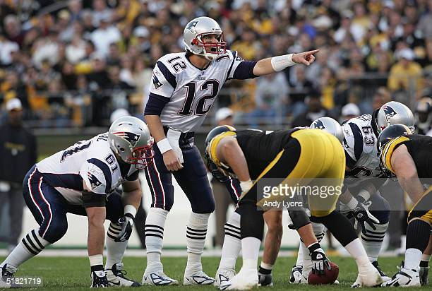 Quarterback Tom Brady of the New England Patriots prepares for the snap against the Pittsburgh Steelers during the game at Heinz Field on October 31...