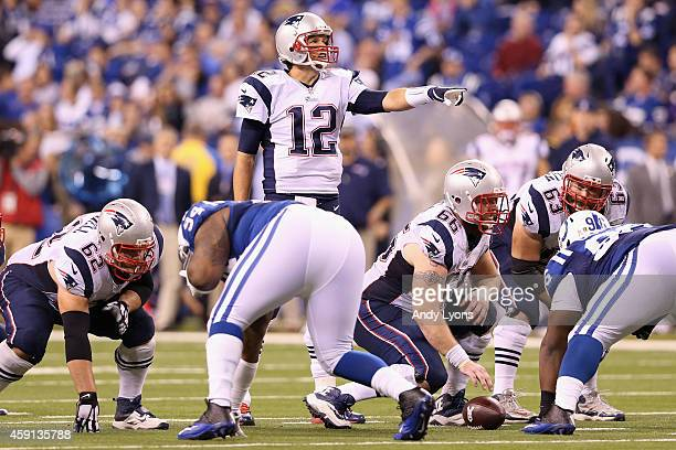 Quarterback Tom Brady of the New England Patriots reacts against the Indianapolis Colts during the game at Lucas Oil Stadium on November 16 2014 in...