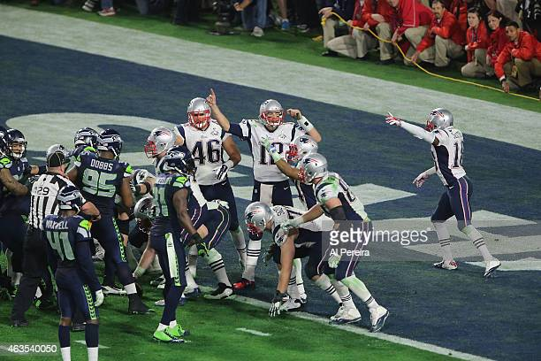 Quarterback Tom Brady of the New England Patriots reacts to an offsides call against the Seattle Seahawks in the Super Bowl at University of Phoenix...