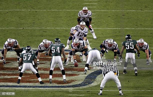 Quarterback Tom Brady of the New England Patriots signals to his team against the Philadelphia Eagles during Super Bowl XXXIX at Alltel Stadium on...